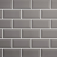 Trentie Taupe Gloss Metro Ceramic Wall tile, Pack of 40, (L)200mm (W)100mm, Sample