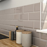 Trentie Taupe Gloss Metro Ceramic Wall Tile, Pack of 40, (L)200mm (W)100mm