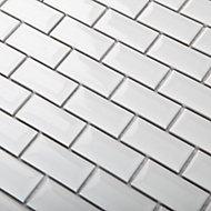 Trentie White Ceramic Mosaic tile sheet, (L)300mm (W)300mm