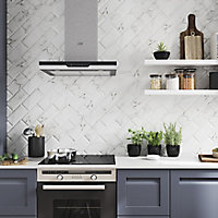 Trentie White Gloss Marble effect Ceramic Wall Tile, Pack of 48, (L)200mm (W)100mm