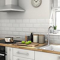 Trentie White Gloss Metro Ceramic Wall Tile, Pack of 40, (L)200mm (W)100mm