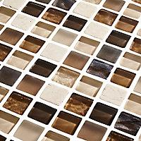 Triesto Beige & brown Glass effect Mosaic Glass & natural stone Mosaic tile, (L)300mm (W)300mm