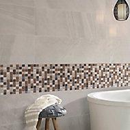 Triesto Beige & brown Glass & natural stone Mosaic tile, (L)300mm (W)300mm