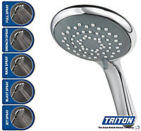 Triton 5-spray pattern Chrome effect Shower head