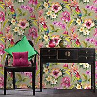 Tropical parrot Multicolour Floral birds Metallic effect Smooth Wallpaper