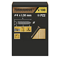 TurboDrive PZ Double-countersunk Yellow-passivated Steel Wood screw (Dia)4mm (L)30mm, Pack of 100
