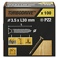 TurboDrive Yellow-passivated Steel Screw (Dia)3.5mm (L)30mm, Pack of 100