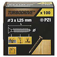 TurboDrive Yellow-passivated Steel Screw (Dia)3mm (L)25mm, Pack of 100