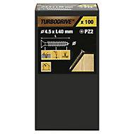 TurboDrive Yellow zinc-plated Steel Wood Screw (Dia)4.5mm (L)40mm, Pack of 100