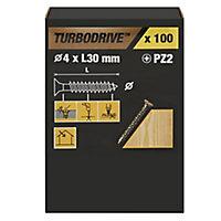 TurboDrive Yellow zinc-plated Steel Wood Screw (Dia)4mm (L)30mm, Pack of 100