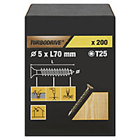 TurboDrive Yellow zinc-plated Steel Wood Screw (Dia)5mm (L)70mm, Pack of 200