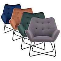 Turio Burnt orange Velvet effect Chair (H)865mm (W)750mm (D)800mm