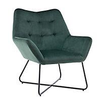 Turio Forest green Velvet effect Chair (H)865mm (W)750mm (D)800mm