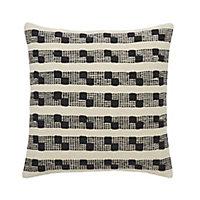 Udapur Rug stripe Black & white Cushion (L)45cm x (W)45cm