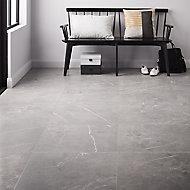 Ultimate Grey Matt Marble effect Porcelain Wall & floor Tile, Pack of 3, (L)595mm (W)595mm
