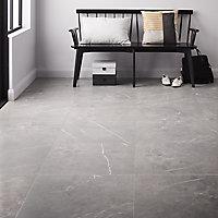 Ultimate Grey Matt Marble Marble effect Porcelain Floor tile, Pack of 3, (L)595mm (W)595mm