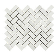 Ultimate White Marble effect Herringbone Porcelain Mosaic tile sheets, (L)300mm (W)300mm