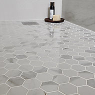 Ultimate White Marble effect Hexagon Porcelain Mosaic tile sheets, (L)300mm (W)300mm