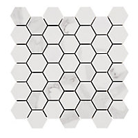 Ultimate White Marble effect Hexagon Porcelain Mosaic tile sheets, (L)300mm (W)300mm
