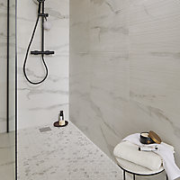 Ultimate White Polished Marble effect Porcelain 5x5 Mosaic tile sheet, (L)300mm (W)300mm