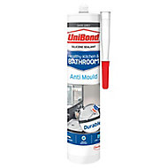 UniBond Healthy kitchen & bathroom Mould resistant Dark grey Silicone-based Sanitary sealant, 300ml