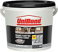UniBond Ready mixed Grey Floor Tile Adhesive & grout, 7.2kg