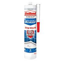 UniBond Triple protection Mould resistant Translucent Kitchen & bathroom Silicone-based Sanitary sealant, 300ml