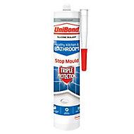 UniBond Triple protection Mould resistant Translucent Kitchen & bathroom Silicone-based Sealant, 300ml