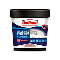 UniBond UltraForce Ready mixed Ice white Tile Adhesive & grout, 1.38kg