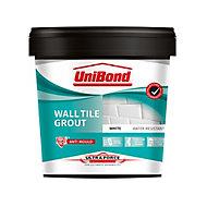 UniBond UltraForce Ready mixed White Wall tile Grout, 1.38kg Tub