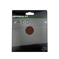 Universal Fit 80 grit Sanding sheet (L)125mm (Dia)125mm, Pack of 5