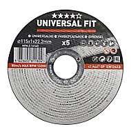Universal Metal Cutting disc (Dia)115mm, Pack of 5