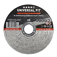 Universal Metal Cutting disc (Dia)125mm, Pack of 5