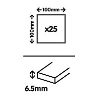 Utopia White Gloss Plain Stone effect Ceramic Wall tile, (L)100mm (W)100mm, Sample