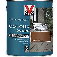 V33 Colour guard Matt light brown Decking paint, 2.5L