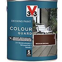 V33 Colour guard Matt medium brown Decking paint, 2.5L