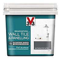 V33 Renovation Anthracite Satin Wall tile & panelling paint, 750ml
