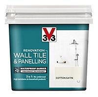 V33 Renovation Cotton Satin Wall tile & panelling paint, 750ml