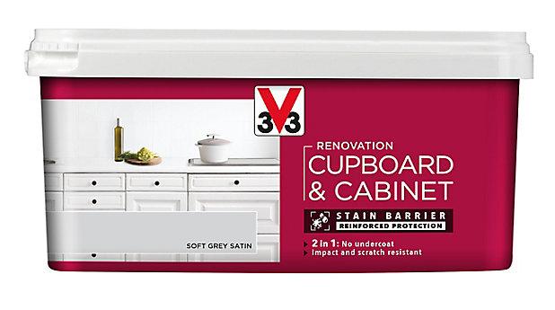V33 Renovation Soft Grey Satin Cupboard Cabinet Paint 2l Diy At B Q