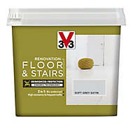 V33 Renovation Soft grey Satin Floor & stair paint, 750ml