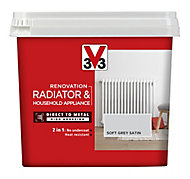 V33 Renovation Soft grey Satin Radiator & appliance paint, 750ml