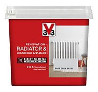 V33 Renovation Soft grey Satin Radiator & appliance paint, 750ml