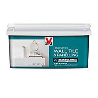V33 Renovation Soft grey Satin Wall tile & panelling paint, 2L