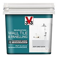 V33 Renovation Soft grey Satin Wall tile & panelling paint, 750ml