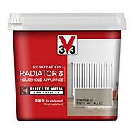 V33 Renovation Stainless steel Metallic effect Radiator & appliance paint, 750ml