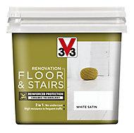 V33 Renovation White Satin Floor & stair paint, 750ml