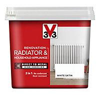 V33 Renovation White Satin Radiator & appliance paint, 750ml