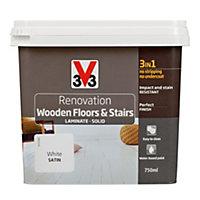 V33 Renovation White Satin Wooden floor & stairs paint 0.75L