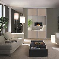Valla Grey oak effect Mirrored Sliding Wardrobe Door (H)2260mm (W)772mm