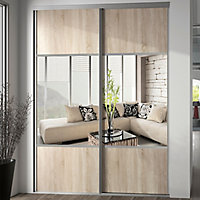 Valla Natural oak effect Mirrored Sliding Wardrobe Door (H)2260mm (W)772mm